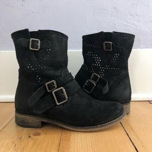 MNTG Black Suede Perforated Ankle Boots